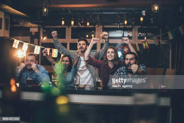 celebrating in the pub - supporter stock pictures, royalty-free photos & images
