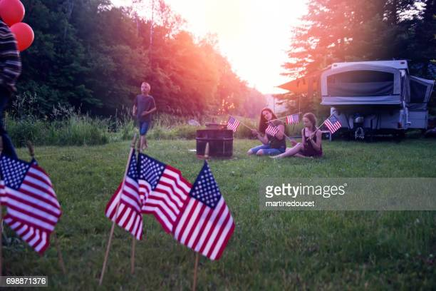 celebrating independence day in camping. - fourth of july stock photos and pictures