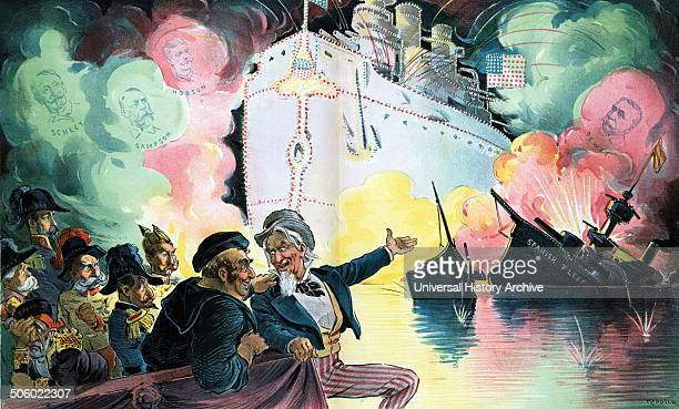 Celebrating July 4th 1898 the triumph of the American battleship by Udo Keppler 18721956 artist 1898 shows a gleeful Uncle Sam sitting with John Bull...