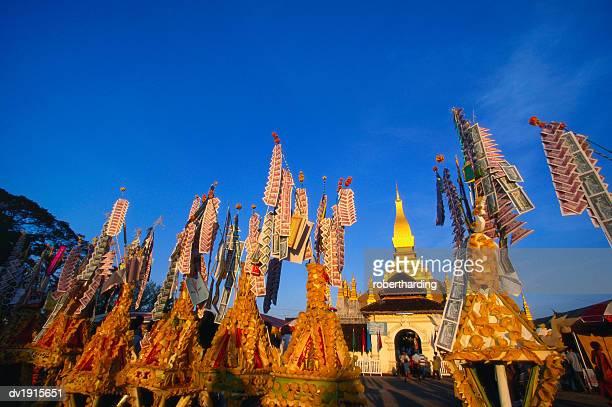 Celebrating Khao Pansaa at Pha That Luang Temple, Vientiane, Laos