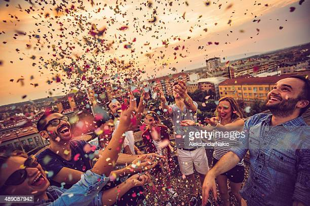 celebrating life! - confetti stock pictures, royalty-free photos & images