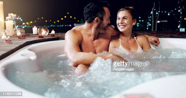 celebrating our anniversary in style - hot tub stock pictures, royalty-free photos & images