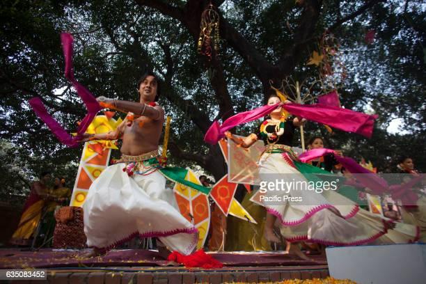 Celebrating Pahela Falgun the first day of spring in the Bengali calendar at Dhaka Universitys Fine Arts Faculty in Dhaka Bangladesh