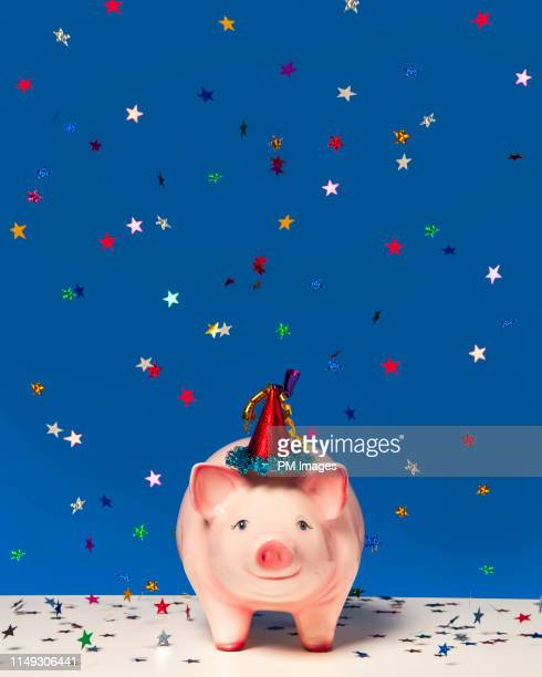 celebrating piggy bank - multi colored hat stock pictures, royalty-free photos & images