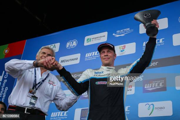 Celebrating second place during Podium ceremony of the Race 2 of FIA WTCC 2017 World Touring Car Championship Race of Portugal, Vila Real, June 25,...