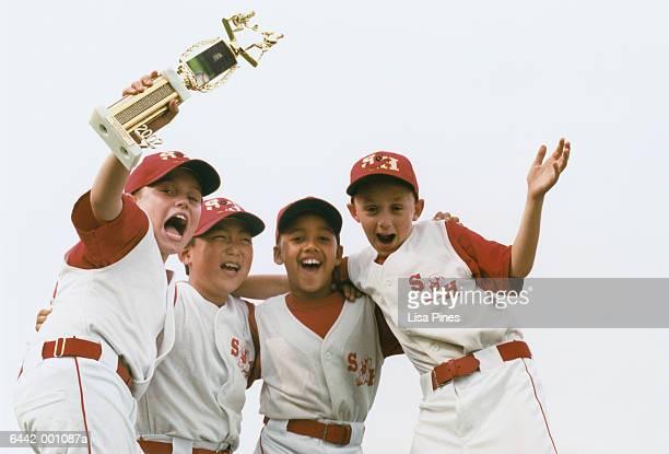 Celebrating Team Hold Trophy