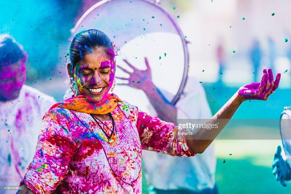 Celebrating the Holi Festival of Colors : Stock Photo