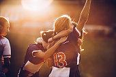 Celebrating the victory after soccer match!