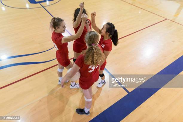 celebrating the win! - high school volleyball stock photos and pictures
