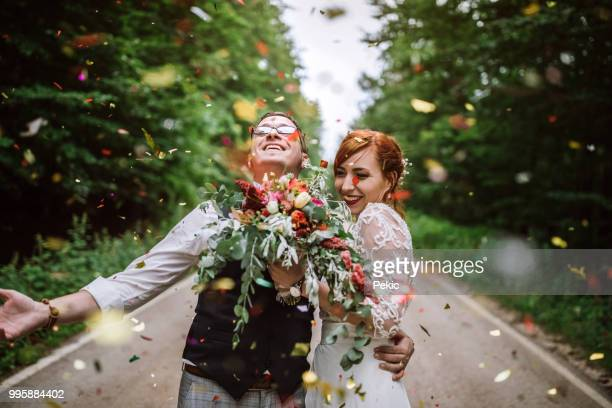 celebrating their wedding with style - newlywed stock pictures, royalty-free photos & images