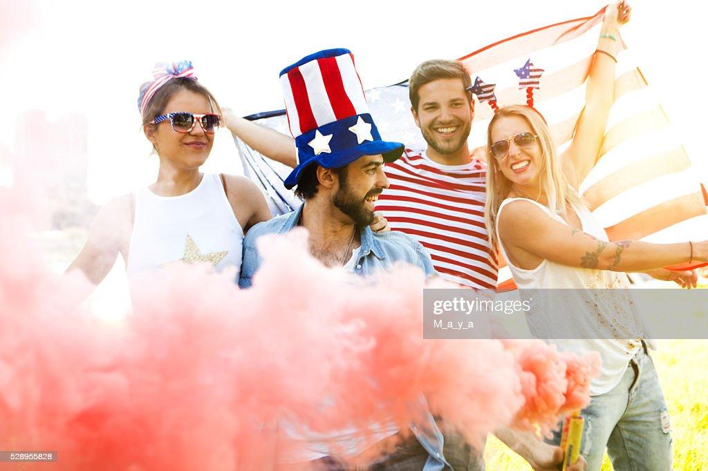 Celebrando Estados Unidos : Foto de stock
