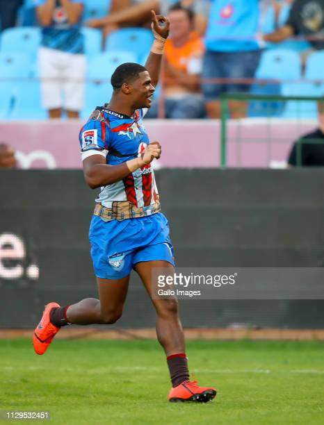 Celebration after the try by Rosko Specman of the Vodacom Bulls during the Super Rugby match between Vodacom Blue Bulls and Cell C Sharks at Loftus...