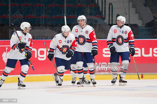 Celebration as Josh Hennessy of Vaxjo scores 2-1 during the Champions Hockey League round of thirty-two game between Djurgarden Stockholm and Vaxjo...