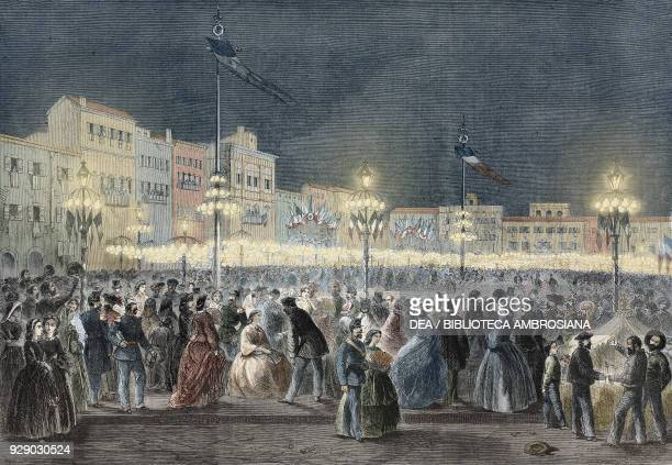 Celebration at Florence of the first Italian national festival illustration from the magazine The Illustrated London News volume XXXIX July 6 1861...