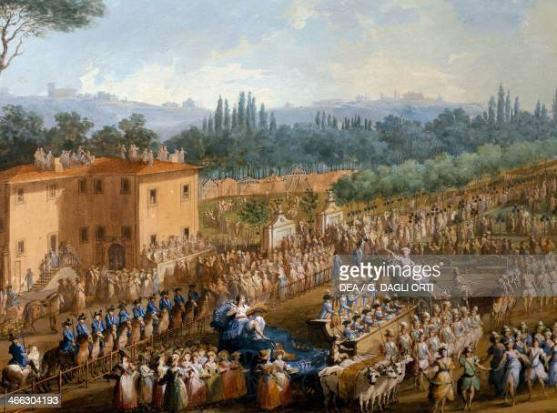 Celebration at the farmsteads in honour of Ferdinand III The volcano painting by Giuseppe Maria Terreni tempera on paper 67x123 cm