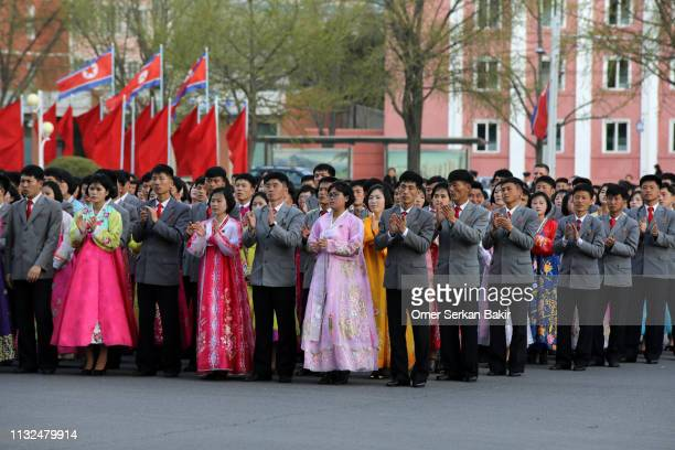 celebration ceremonies in north korea - north korea stock pictures, royalty-free photos & images