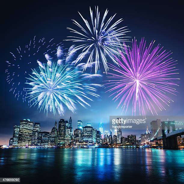 celebration day in new york city - fireworks stock pictures, royalty-free photos & images