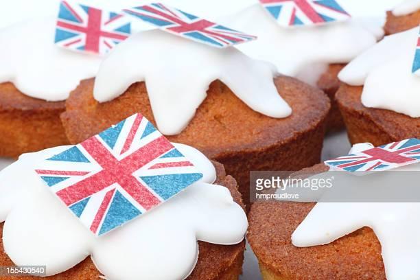 celebration fairy cakes - british flag cake stock pictures, royalty-free photos & images