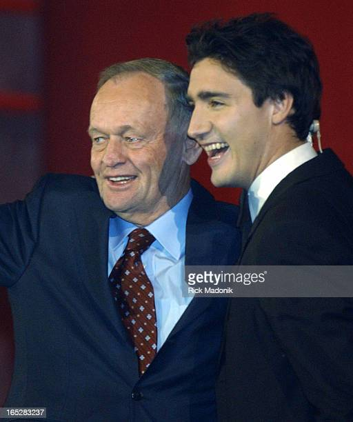 TORONTO 11/13/03 TORONTO ONTARIO Celebration for Jean Chretien outgoing leader of the Liberal Party at ACC who is joined on stage by Justin Trudeau