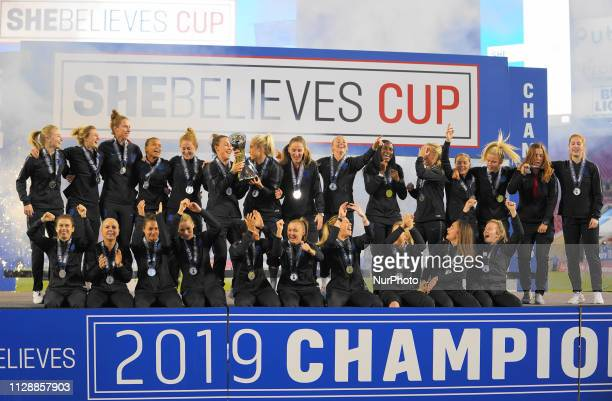 Celebration from England after winning the 2019 SheBelieves Cup edition during the SheBelieves Cup Ceremony at Raymond James Stadium on March 5 2019...