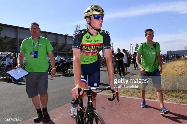 Celebration / Matej Mohoric of Slovenia and Team Bahrain - Merida Green Leader Jersey / during the 14th BinckBank Tour 2018, Stage 6 a 182,2km stage...