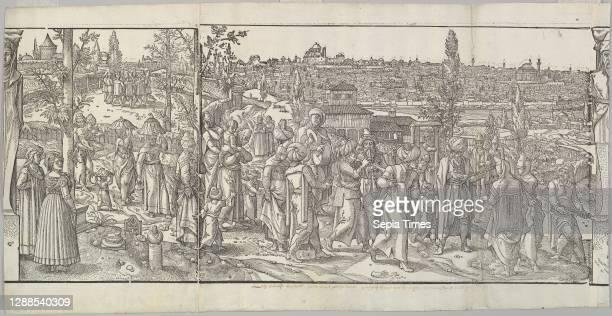 Celebration of a Circumcision from the frieze Ces Moeurs et fachons de faire de Turcz Woodcut, Sheet: 14 × 27 1/2 in. , Prints, After Pieter Coecke...