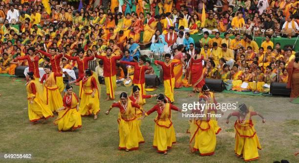 Celebration of' Basanta Utsav' by students of Rabindra Bharati University at Jorasanko Campus on March 7 2017 in Kolkata India