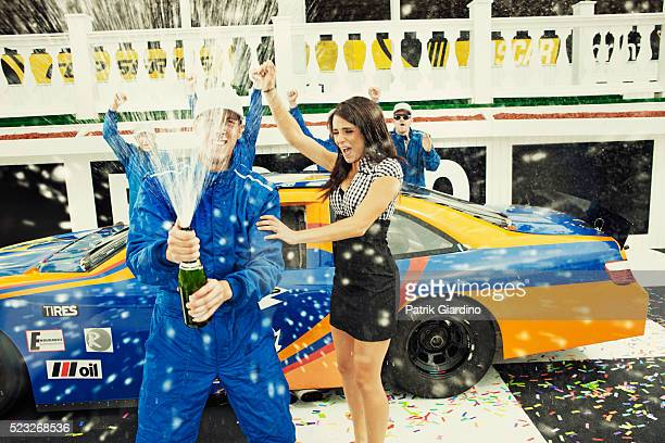 Celebration of car racing victory