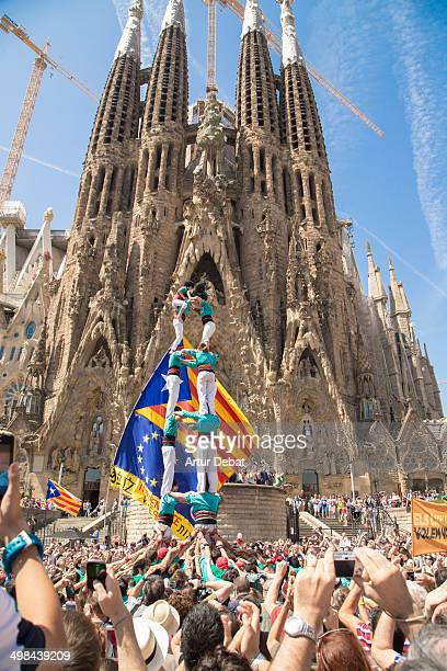 Celebration of human towers for the right of the Catalans to vote on a referendum Castles on all European capitals Barcelona Catalonia Europe June...