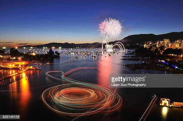 celebration of lights, fireworks at englis bay - english bay stock photos and pictures