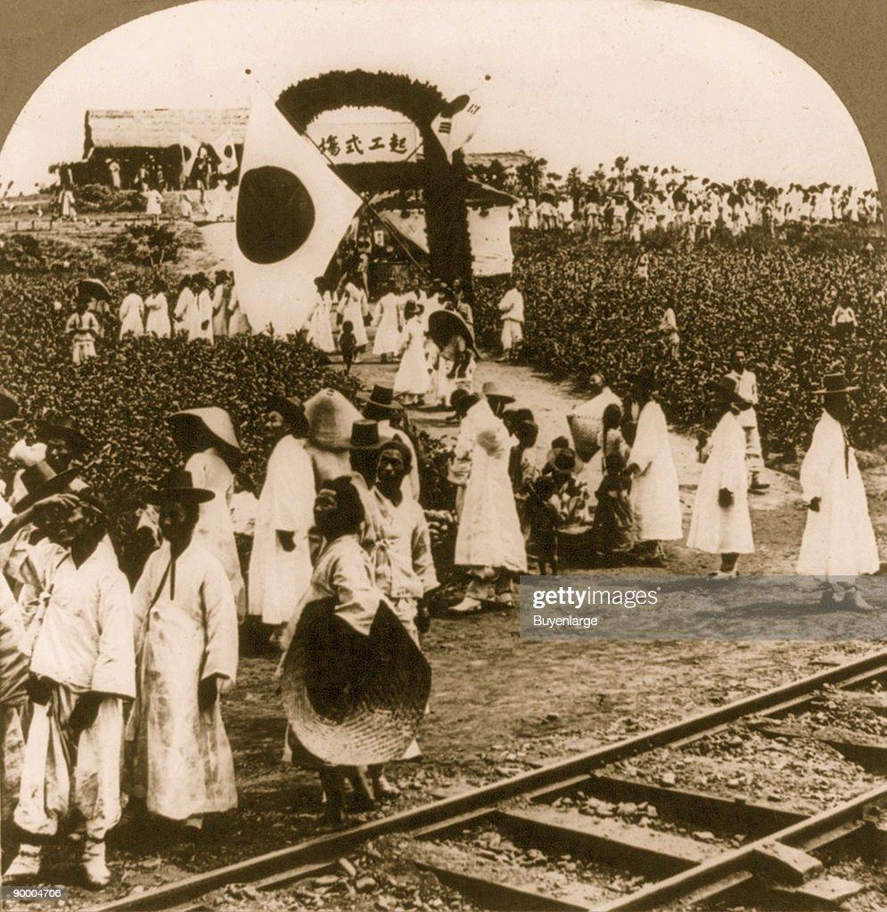 Celebration of opening railway line from Seoul to Fusan, Chosen (Korea) : News Photo