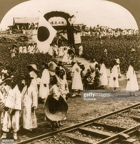 Celebration of opening railway line from Seoul to Fusan, Chosen