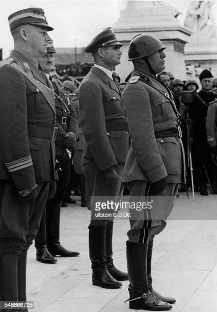 Celebration of the Fascist militia to 15 Anniversary at the tomb of Unknown Soldier in Rome Benito Mussolini during the final marchpast at the Piazza...