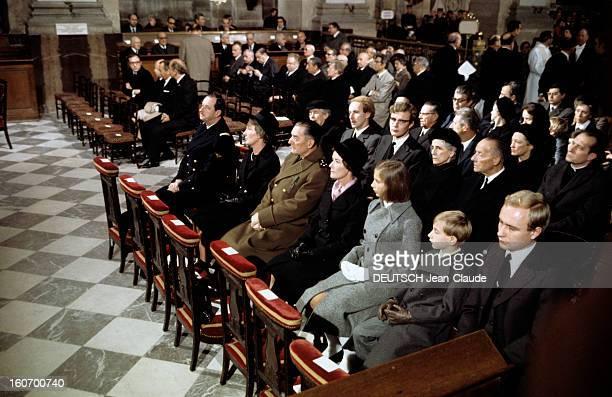 Celebration Of The First Anniversary Of The Death Of General De Gaulle Paris 9 novembre 1971 A l'église SaintLouis des Invalides lors de la...