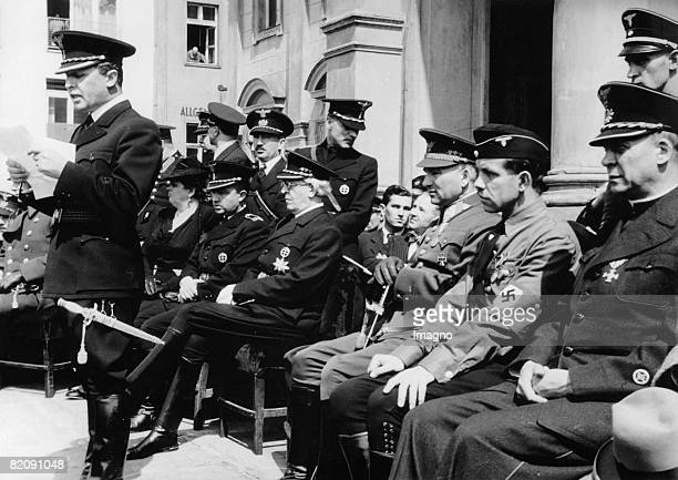 Celebration on the occasiaon of Hitlers 51st birthday Slovakai Sano Mach holds a speech behind him with glasses prime minister Vojtech Tuka General...