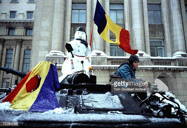 Celebration Snowman in Republic Square, Bucharest during the Romanian Revolution of 1990.