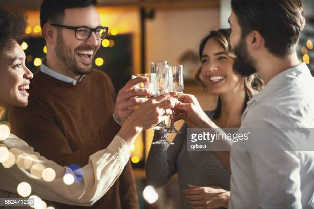 celebration toast. - brindisi capodanno foto e immagini stock