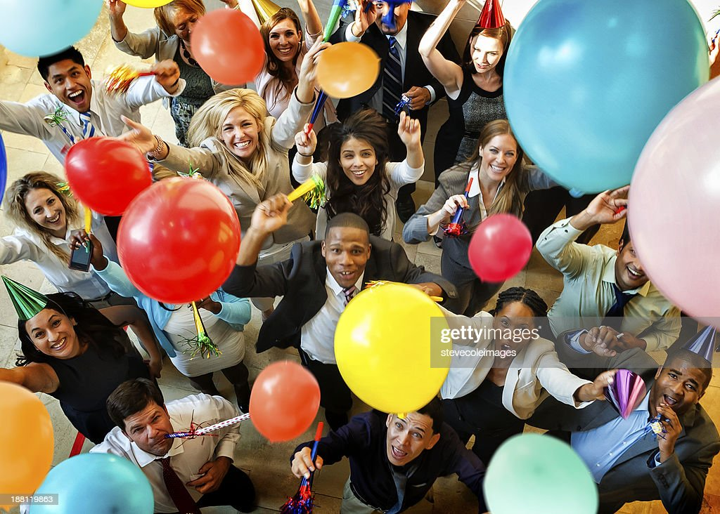 Celebration With Balloons, Hats and Horns : Stock Photo
