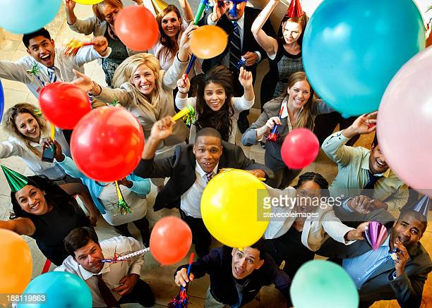 celebration with balloons, hats and horns - party stockfoto's en -beelden