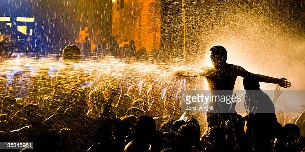 Celebration with water and fire