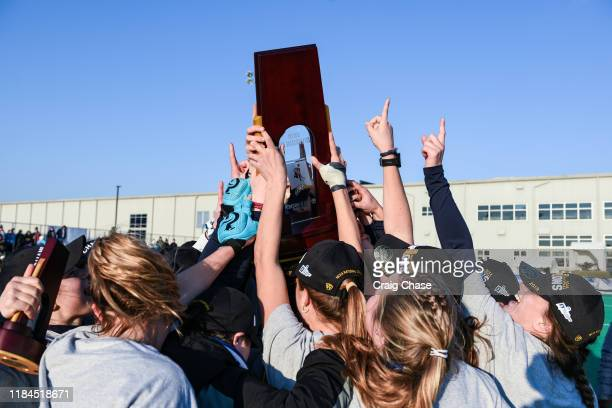Celebrations after the Franklin Marshall Diplomats against the Middlebury Panthers at the Division III Women's Field Hockey Championship held at...