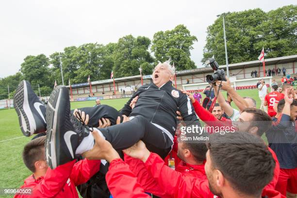 Celebrations as Northern Cyprus win 3 2 against Padania during the Conifa Paddy Power World Football Cup semi finals on the 7th June 2018 at...