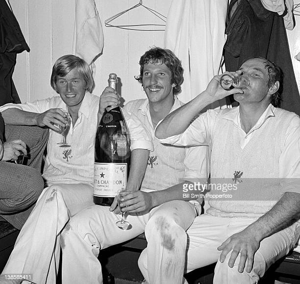 Celebrations for Brian Rose Ian Botham and Derek Taylor of Somerset after their victory over Essex in the Gillette Cup semifinal at Taunton 16th...