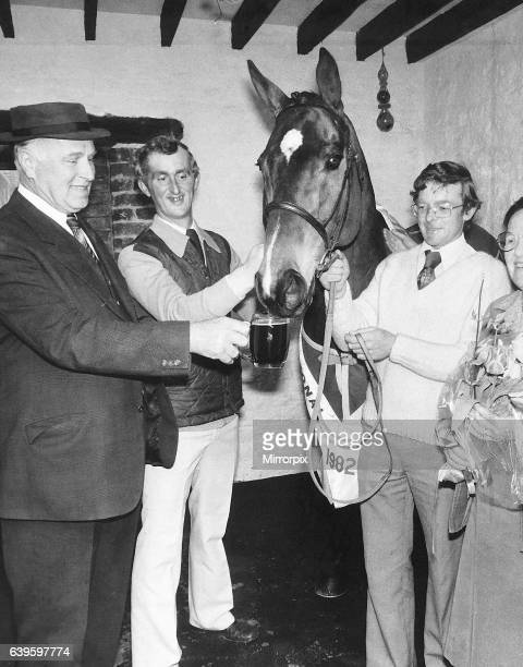Celebrations for racehorse Grittar after victory in the 1982 Grand National race ridden by jockey Dick Saunders April 1982