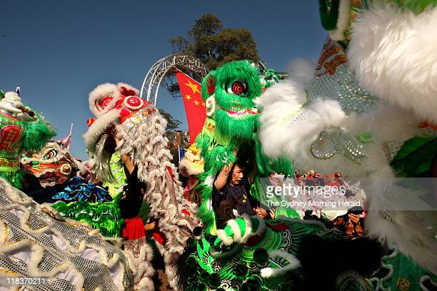 Celebrations for the 60th National Day of the People's Republic of China are held at Sydney Opera House Around 60 dancing dragons performed on the...