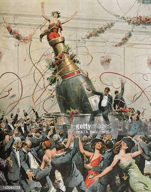 Celebrations in America to mark the end of prohibition Illustrator Achille Beltrame from La Domenica del Corriere 1933