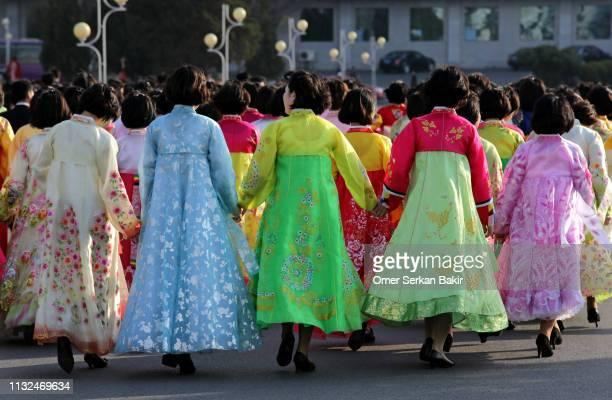 feiern in nordkorea - nordkorea stock-fotos und bilder