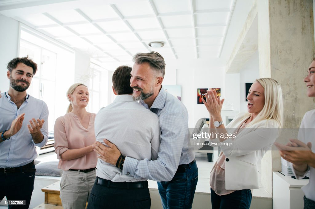 Celebrations In Office After Successful Business Pitch By Team : Stock Photo