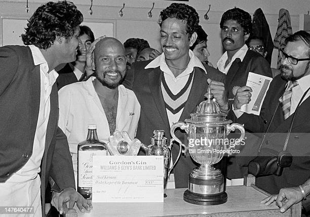 Celebrations in the Indian dressingroom after India's victory over the West Indies in the World Cup Final at Lord's cricket ground in London 25th...