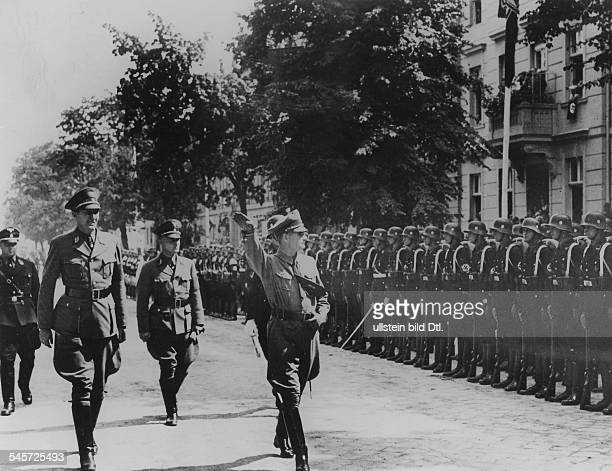 Celebrations marking the 150th anniverary of the death of Frederick the Great in Potsdam Rudolf Hess the Deputy Führer to Adolf Hitler is taking the...